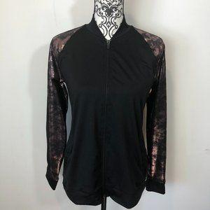 BCG Zip up jacket black with metallic red/pink XL